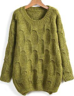 Green Round Neck Pattern Dipped Hem Sweater 28.33
