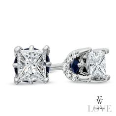Vera+Wang+LOVE+Collection+1/2+CT.+T.W.+Princess-Cut+Diamond+Stud+Earrings+in+14K+White+Gold
