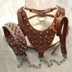 COLLAR Spiked Studded Leather Dog HARNESS Chain LEASH SET Pitbull Listing in the Collars, Leads, Muzzles & Tags,Dogs,Pets,Home & Garden Category on eBid United States | 144807016