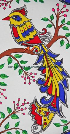 Amber-art-creations: Madhubani Painting....Birds in Love