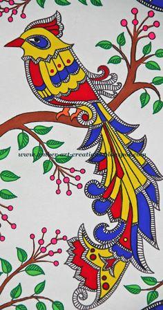 Amber-art-creations: Madhubani Painting....Birds in Love