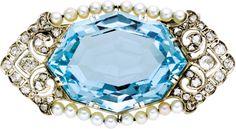 Aquamarine, Diamond, Seed Pearl, White Gold Brooch.