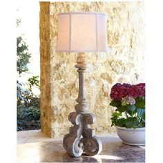 #Cavour Table Lamp Indoor #Outdoor Aged #Concrete Tuscan Scroll Patio Neiman Marcus #NeimanMarcus #Tuscan