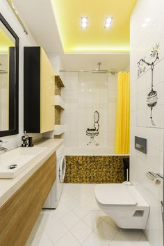 bathroom color combinations yellow ceiling cabinet curtain black tile cabinet white floor wall and ceiling narrow bathroom of Marvellous Bathroom Color Combinations to Take a Look at