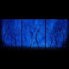 Abstract Landscape Tree Painting Blue Fireflies by BestArtStudios2, $375.00
