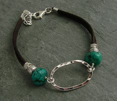 J & I Jewelry Online Shop: Hammered Sterling Oval and Turquoise Bracelet.