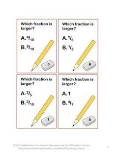 Here is a set of 50 math task cards focusing on the common core skill of comparing fractions. A comparing fractions model is also provided. The student answer keys are grouped into five problems per key to allow for frequent checks and immediate feedback. Student response sheets are also provided with five questions per sheet. The teacher key has all 50 answers on one page.