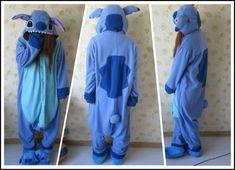 Designer kawaii Anime Animal Blue lilo Stitch Pajamas Adult Unisex Women Men Onesie Polyester Polar Fleece One Piece Sleepwear-in Costumes f. Lilo Stitch, Lelo And Stitch, Cute Stitch, Disney Stitch, Costume Stitch, Stitch Halloween Costume, Anime Animal, Pyjamas, Teen Fashion