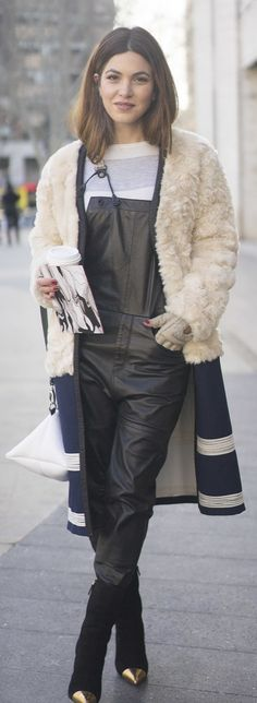 Street style: leather overalls a fuzzy jacket