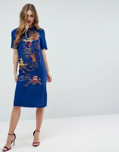 #ASOS - #ASOS ASOS PREMIUM Midi Dress with Eastern Embroidery - Blue - AdoreWe.com