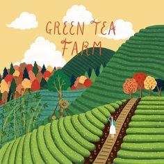 / green tea farm / illustration by madame lolina / - Modern Tea Illustration, Character Illustration, Farm Cartoon, Fox Art, Illustrations And Posters, Simple Art, Book Design, Drawings, Artwork