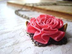 vintage floral ribbon necklace