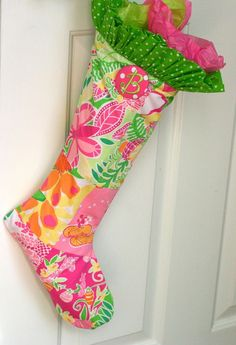 Time to start thinking about making my goddaughters their Christmas stockings!!! Bebe'!!! Lovely pink and green patterned material stocking!!! Bebe'!!! Love the ruffled top!!!