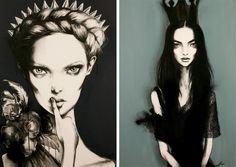 Pippa McManus, Illustration, Fashion, Illustrator, Girl, Model, Flowers, Charcoal, Acrylic, Spray Paint, B,