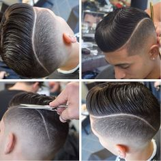 This is a precision cut with a crisp tight fade, shaved part and pomp - all in one!