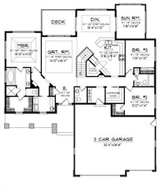 Grantway Traditional Ranch Home   House Plans And More  House    Dobford Craftsman Ranch Home First Floor from houseplansandmore com