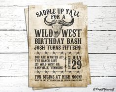 Wild West Invite // Personalized Printable by Print4Yourself