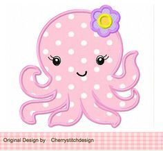 Baby Octopus Digital Applique -4x4 5x7 6x10-Machine Embroidery Applique Design on Etsy, $2.99