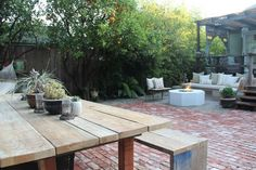 brick paving and fire pit