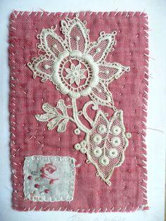 Ellen Devall Artwork Textile Art Greeting Card + Envelope, Victorian Lace on Antique Quilt Fragment, Mini Textile Art Collage Panel,