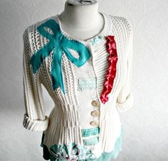 Women's Cream Button Style Cardigan Sweater Bohemian Clothing Altered Couture Aqua Teal Bow L