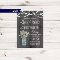 Items similar to Wedding Reception Invitation on with Baby's Breath, Mason Jar invite, Reception Only Invitation-Printed Invitations or Digital File on Etsy Reception Only Invitations, Mason Jar Invitations, Wedding Invitations, Invite, Mason Jars, My Etsy Shop, Baby's Breath, Handmade Gifts, Prints