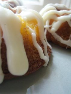 Peach Cakes with Ginger-Cream Cheese Icing -