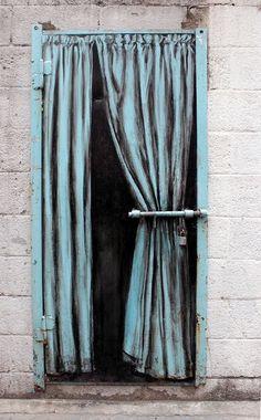by Pejac in Seoul, S.Korea, 6/15 (LP) http://restreet.altervista.org/la-street-art-minimalista-di-pejac/ creative use of a bar