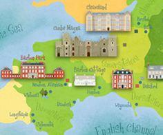 Fun illustrations, postcards, calendars, maps, etc for Jane Austen novels like Pride and Prejudice by Studio Robin