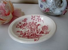 Charlotte Royal Crownford Ironstone England, Red/Pink Transferware Soap Dish...English Decor by TheVintageOpenGate on Etsy