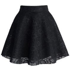 Black Full Lace Skater Skirt Black