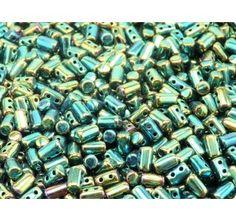 Czech Glass Two-Hole Seed Beads RULLA 3x5mm Jet Green Iris