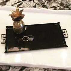 "Black enamel metal ring tray with gold Greek key handles. 8x4"". $12 #shopthealist #itsallinthedetails #vintage"