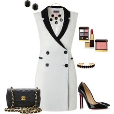 Tux Dress Outfit with Louboutins created by tsteele