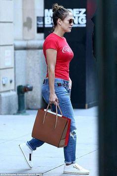 8c387ce8903 Jennifer Lopez wearing Gucci Boyfriend Straight Leg Jeans