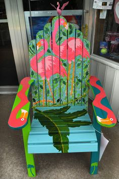 ". A chair titled ""Margaritaville\"" by Rick Skare sits outside of Chisago Drug.. (Pioneer Press: Jean Pieri)"