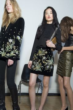 The first look at Topshop Unique AW15 on our models backstage before walking the runway. We styled rich floral embroidery on black velvet dresses and blazers with classic leather accessories.