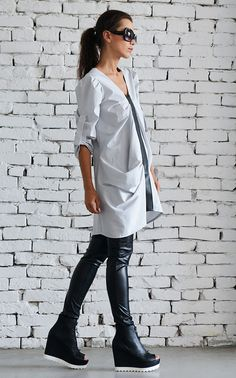 Extravagant black and light grey maxi shirt - METT0017  An unusual asymmetric loose tunic made in soft light grey with an accent black line - something that never goes out of fashion. Comfortable to wear and easy to maintain and style, this maxi top is a perfect addition to your wardrobe.  This shirt is made out of cotton and eco leather.  See it in BLUE here: https://www.etsy.com/listing/220353535/cobalt-blue-shirt-asymmetrical-tunic?ga_search_query=blue&ref...