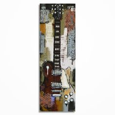 Gift for musician Guitar painting Textured Brick by MagierFineArt