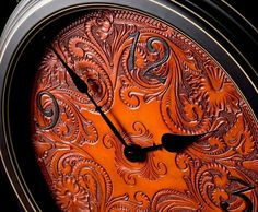 For Sparky ~ Hand Tooled Leather clock!  Thanks LoriAnn... Love it...