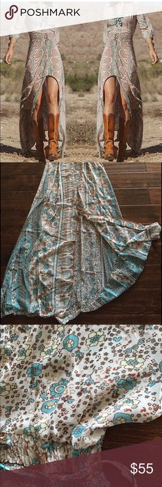 HOBO Maxi Dress Size Large   Beautiful turquoise and brown lightweight, semi-sheer maxi dress with tie. Empire waist. Long slit down middle/front. I love this dress! It's adorable with heels, sandals or cowgirl boots. Perfect for summer. Size large in Juniors. Dresses Maxi