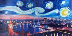 Starry Night in London - Van Gogh Inspirations with Big Ben and London Eye
