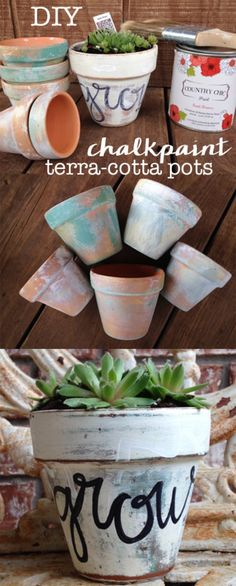 Check out how to make DIY chalkpaint terracotta pots @istandarddesign