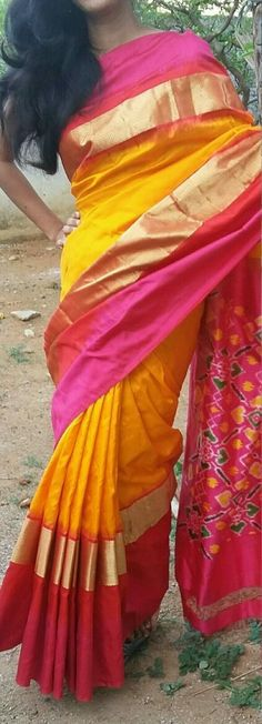 Yellow Ikkat silk Saree with ikkat weaves in Pallu