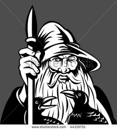 vector of Norse God Odin holding spear with ravens #Odin #retro #illustration