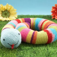 This crocheted Stripey Snake makes a great addition to kids' rooms! Free pattern online. Design by Bret Bera