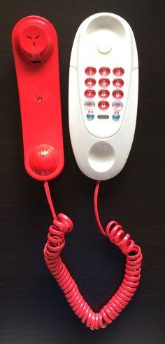 2004 Hello Kitty Red White Phone Red Telephone Cord Sanrio Japanese Writing