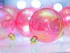 Pink glass spheres