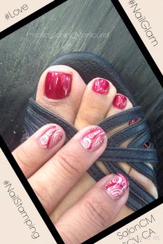 Classic red Pedi with a Stamped Mani, nuff said.