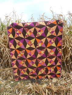 quilt By HoosierToni - purple, orange, chartreuse, and chocolate